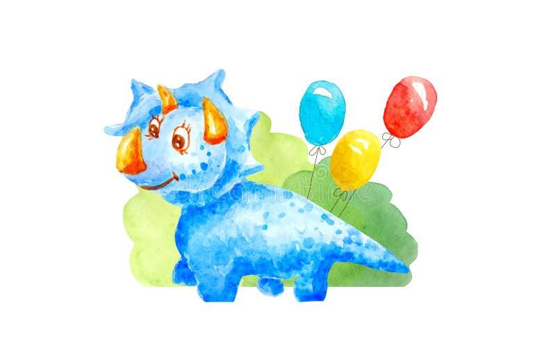 水彩蓝色亲切的恐龙Triceraptors祝贺,邀请,微笑并且是和蔼可亲的在三个胶凝体球背景  库存例证