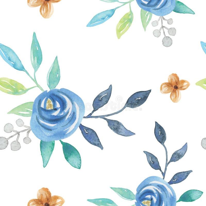 水彩蓝色夏天莓果开花叶子叶子无缝的样式 库存例证