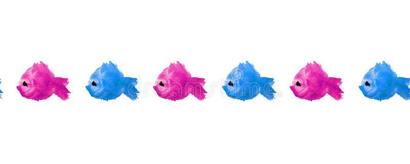 水彩蓝色桃红色紫色污点污点的无缝的框架边界样式以形式一条鱼的剪影在白色背景的 皇族释放例证