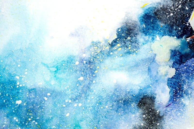 水彩蓝色桃红色紫色污点滴下一滴 抽象水彩例证 向量例证