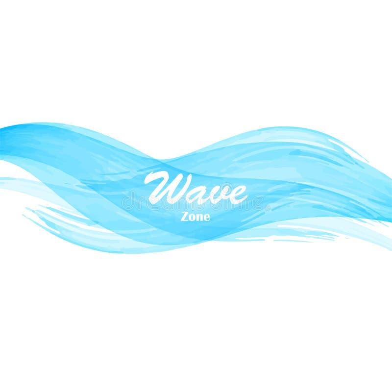 水彩蓝色海洋海波浪 向量例证