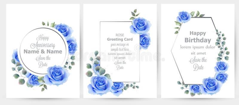 水彩蓝色玫瑰色花卡集汇集传染媒介 葡萄酒贺卡,婚礼邀请,谢谢笔记 皇族释放例证