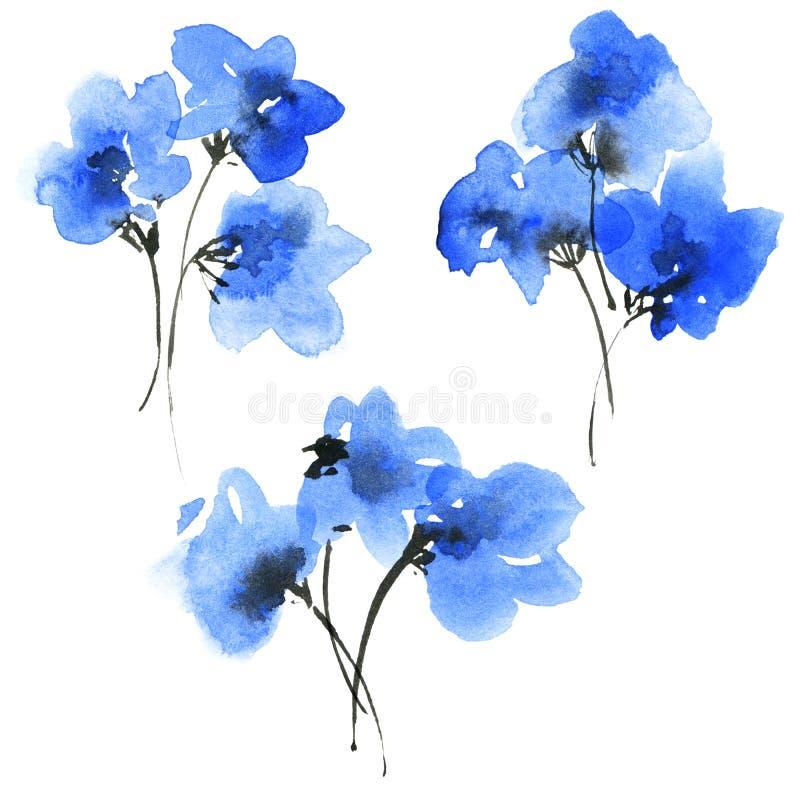 水彩蓝色花 库存例证