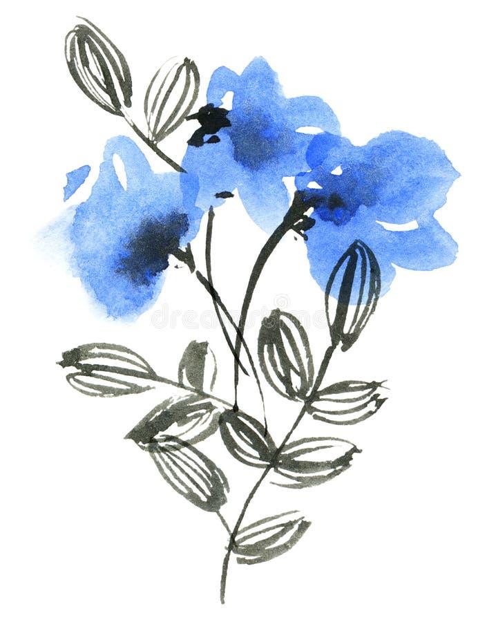 水彩蓝色花 向量例证
