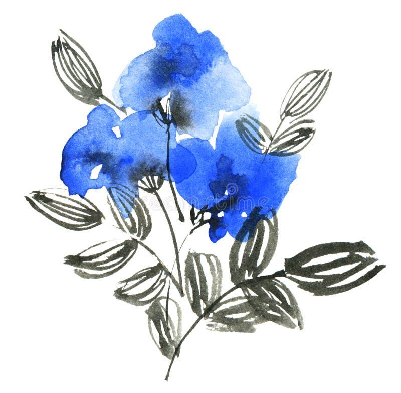 水彩蓝色花 皇族释放例证