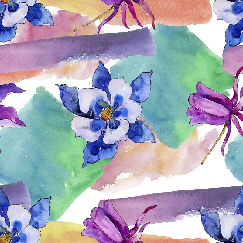 水彩蓝色aquilegia花 花卉植物的花 无缝的背景模式 皇族释放例证