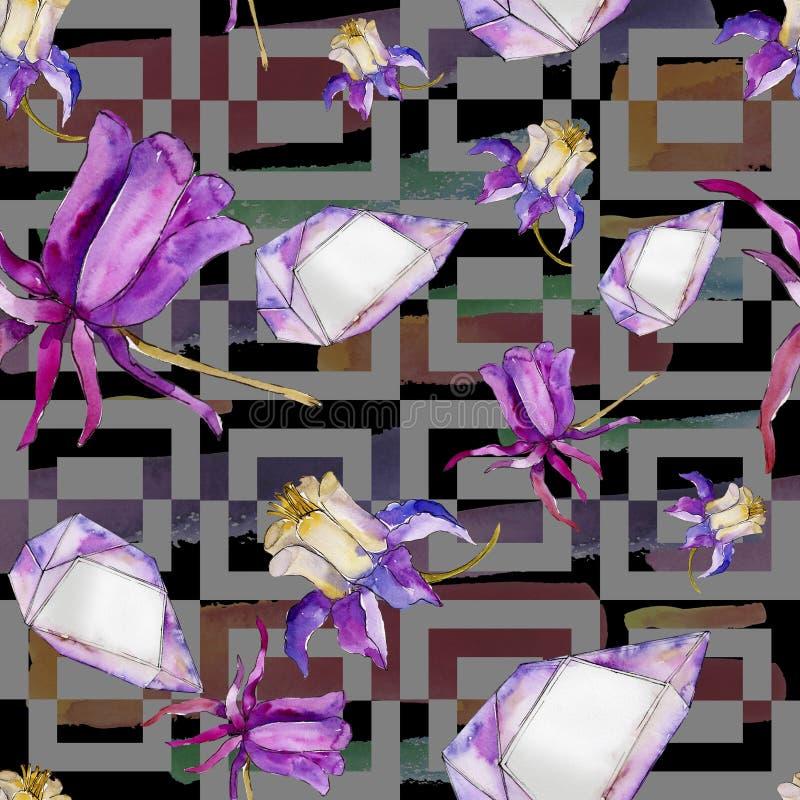 水彩蓝色aquilegia花 花卉植物的花 无缝的背景模式 库存例证
