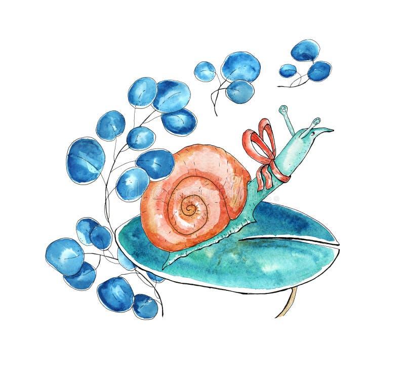 水彩蜗牛字符 向量例证