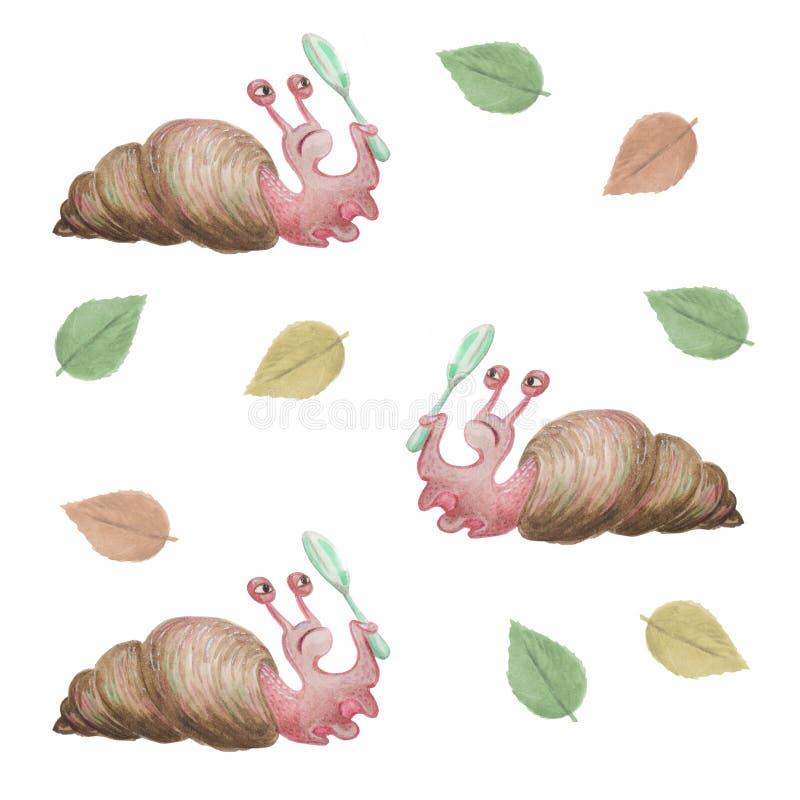 水彩蜗牛蜗牛拿着一个放大镜 在白色背景隔绝的滑稽的喜剧人物 向量例证