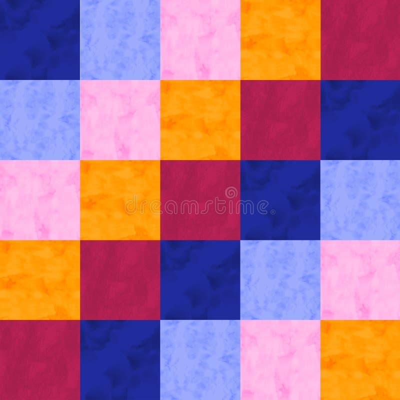 水彩补缀品种族无缝的样式 在水彩样式的几何装饰品 向量例证