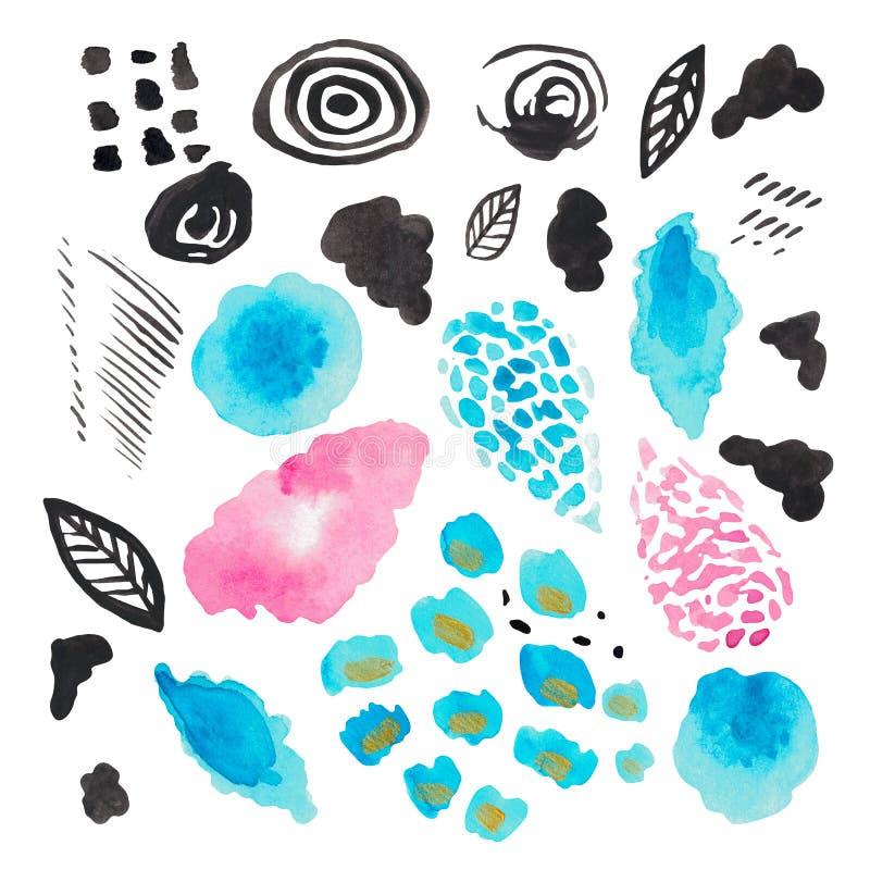 水彩装饰斑点的摘要例证在白色被隔绝的背景现代纹理桃红色深蓝色污点条纹的 库存例证