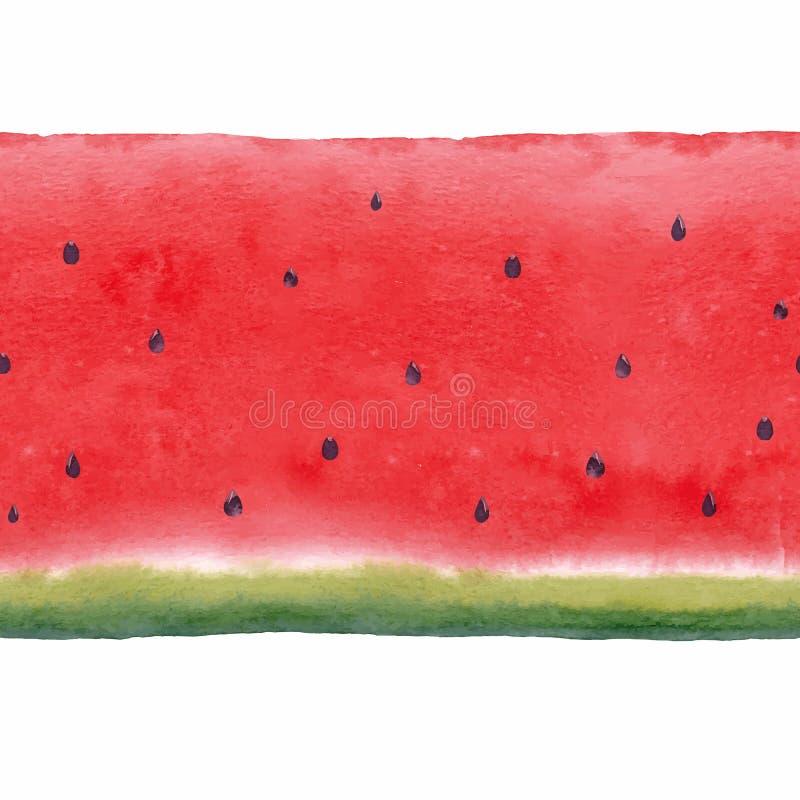 水彩西瓜无缝的传染媒介样式 皇族释放例证
