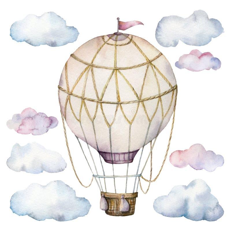水彩设置与云彩和热空气气球 与在白色隔绝的aerostate的手画天空例证 皇族释放例证