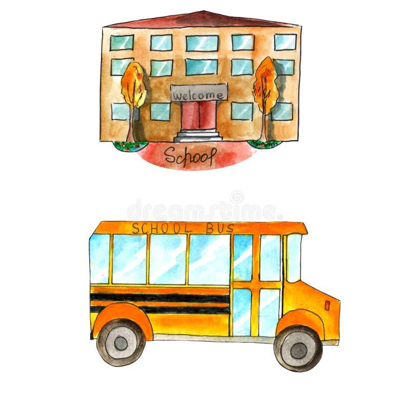 水彩设置与学校和黄色公共汽车在白色背景 皇族释放例证