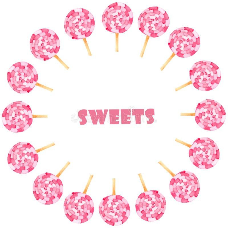 水彩设置与桃红色甜点 向量例证