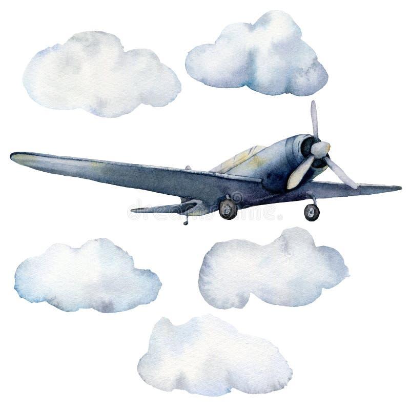 水彩设置与飞机和云彩 与在白色背景隔绝的飞机的手画天空例证 ? 皇族释放例证