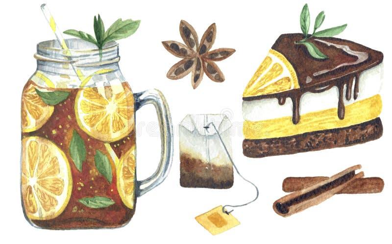 水彩设置与饮料和甜点在白色背景 向量例证