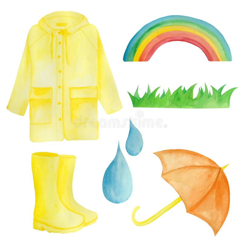水彩设置与黄色雨,伞,彩虹,雨珠 向量例证