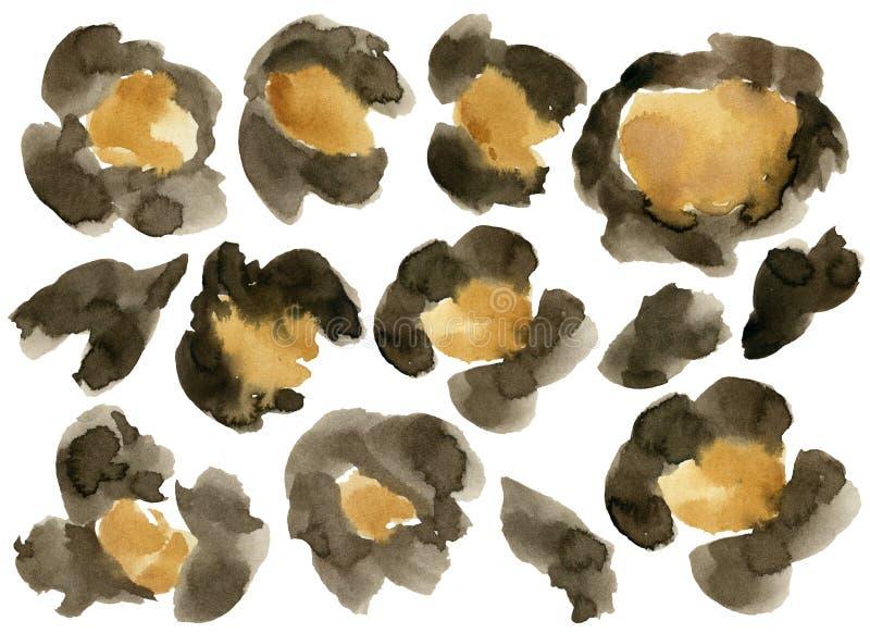 水彩豹子伪装集合 与在白色背景隔绝的动物点的手画美好的例证 库存例证