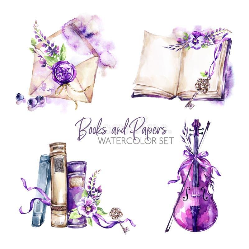 水彩边界设置了与旧书、信封、钥匙、小提琴、花和莓果 原始的手拉的例证 库存例证