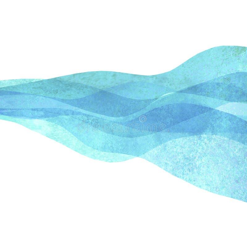 水彩透明波浪海海洋小野鸭绿松石色的背景 水彩手画波浪例证 库存例证