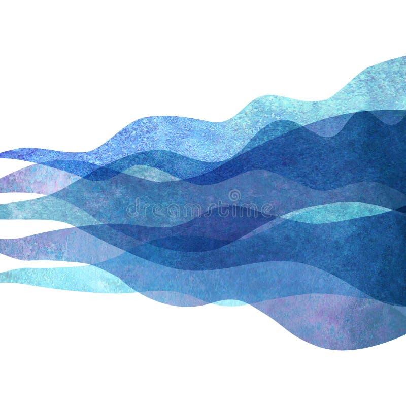 水彩透明波浪海海蓝色小野鸭绿松石背景 水彩手画波浪例证 库存例证