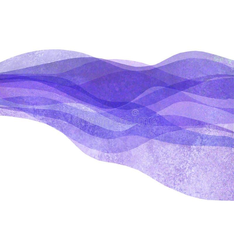 水彩透明波浪紫色淡紫色色的背景 水彩手画波浪例证 库存例证