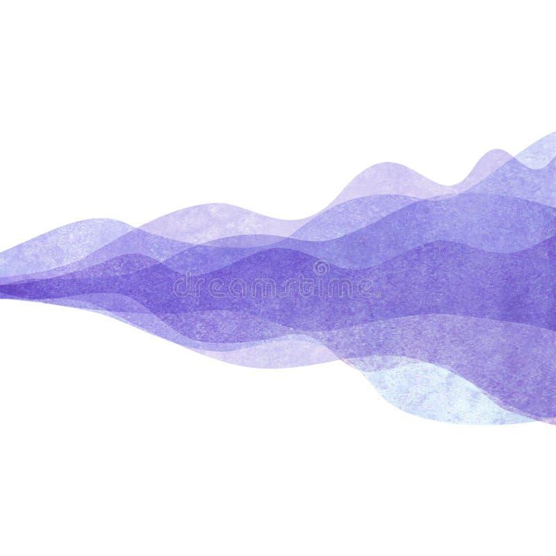 水彩透明波浪紫色淡紫色色的背景 水彩手画波浪例证 皇族释放例证