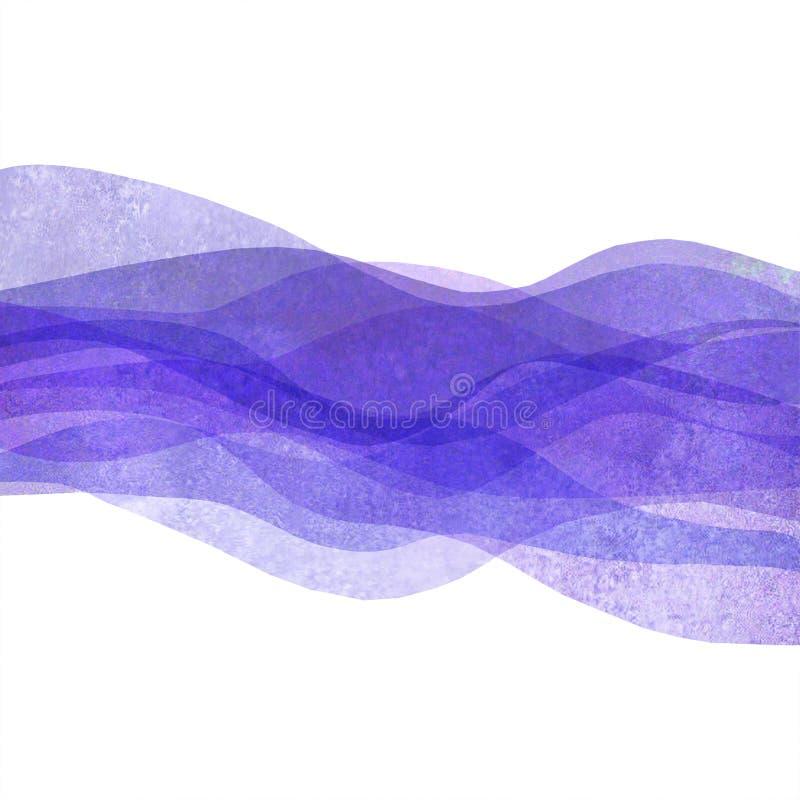 水彩透明波浪紫色淡紫色色的背景 水彩手画波浪例证 向量例证