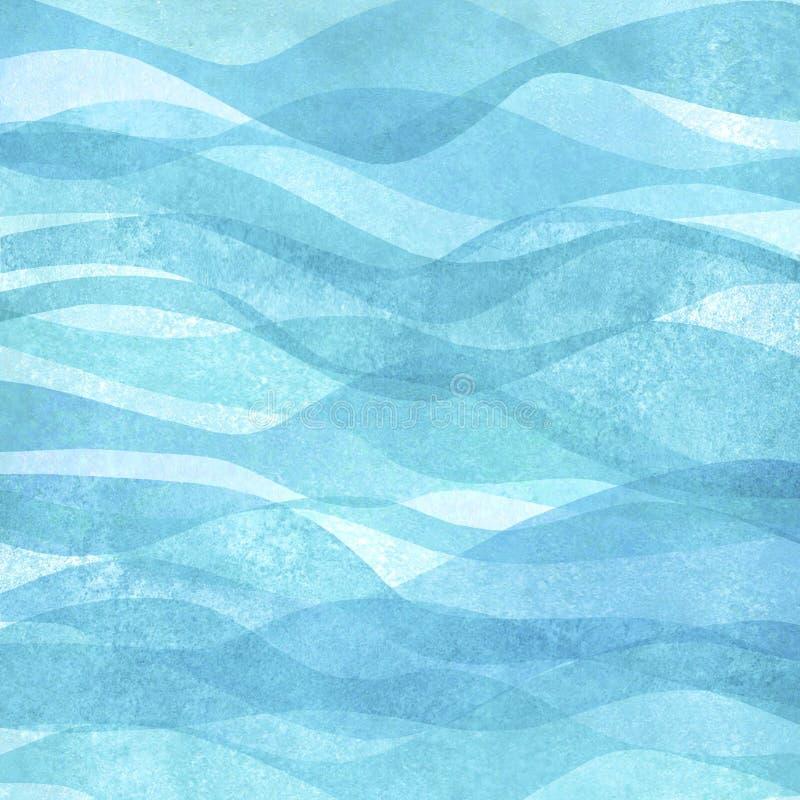 水彩透明海海浪小野鸭绿松石色的背景 水彩手画波浪例证 向量例证