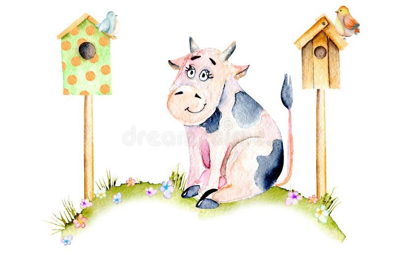 水彩逗人喜爱的动画片母牛坐草甸在鸟房子、小鸟和简单的花附近 向量例证