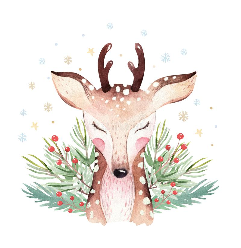 水彩逗人喜爱的动画片鹿动物画象设计 在白色背景的寒假卡片 新年小鹿装饰 免版税库存图片