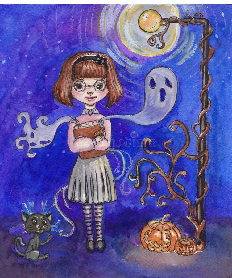 水彩逗人喜爱的女孩在鬼的万圣节夜 向量例证