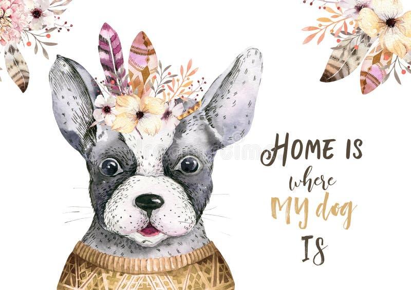 水彩逗人喜爱的狗特写镜头画象  背景查出的白色 手拉的甜家庭宠物 贺卡动物 向量例证