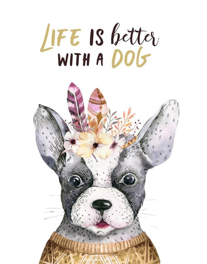 水彩逗人喜爱的狗特写镜头画象  背景查出的白色 手拉的甜家庭宠物 贺卡动物 皇族释放例证