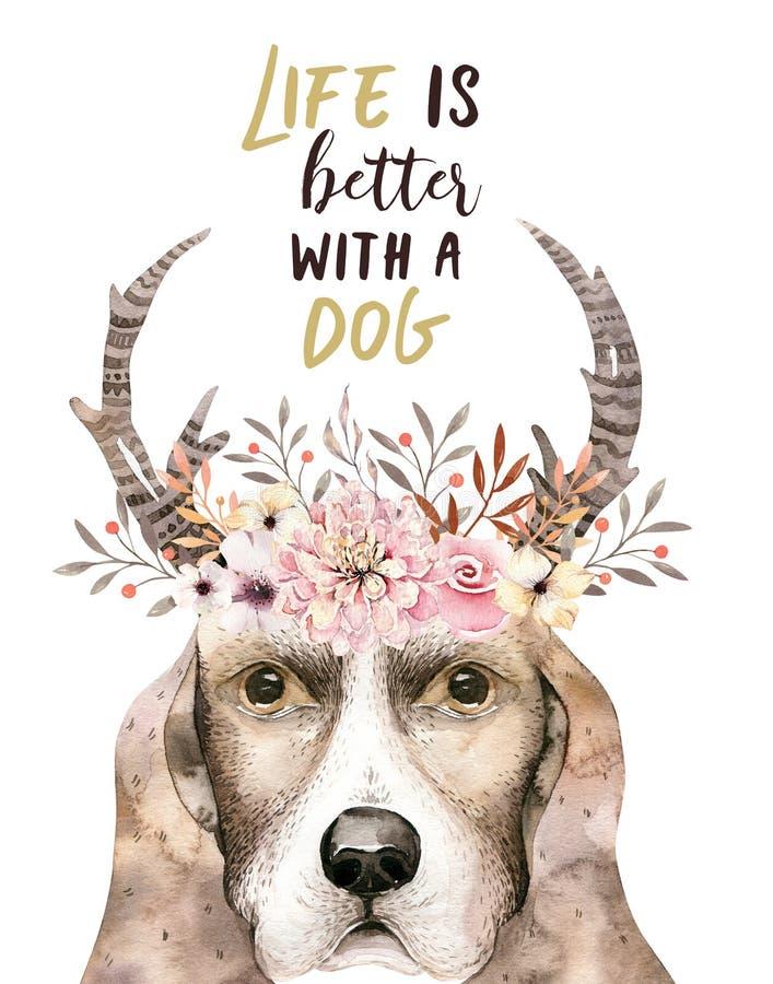 水彩逗人喜爱的狗特写镜头画象  背景查出的白色 手拉的甜家庭宠物 贺卡动物 库存例证