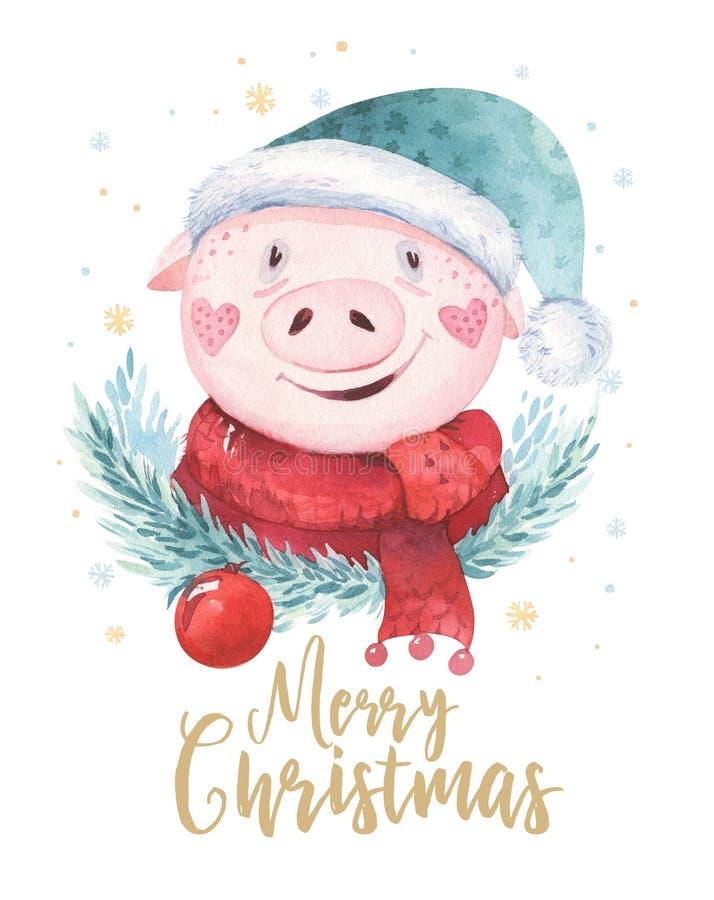 水彩逗人喜爱的猪标志2019年例证 被隔绝的滑稽的动画片砰动物愉快的农历新年贪心艺术 向量例证