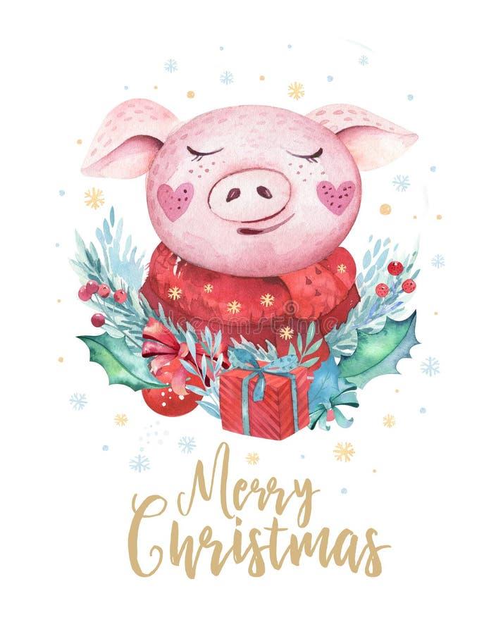 逗人喜爱的滑稽的动画片圣诞节老鼠圣诞卡片 水彩手拉图片