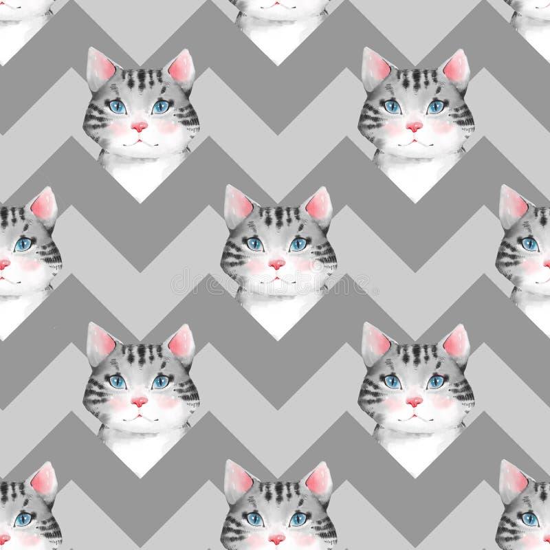 水彩逗人喜爱的猫 3无缝的模式 皇族释放例证