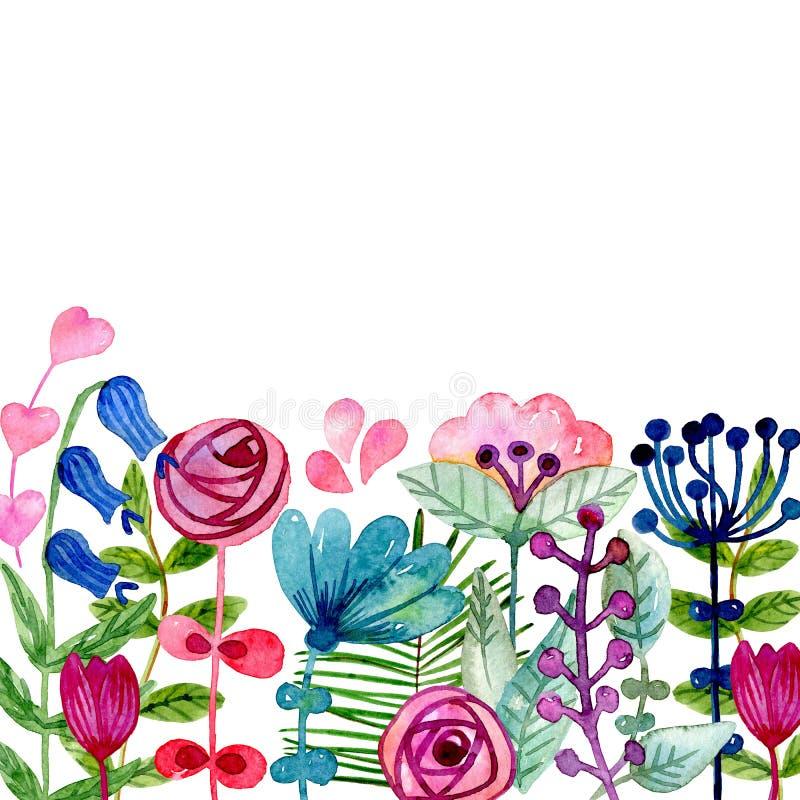 水彩逗人喜爱的花 库存例证