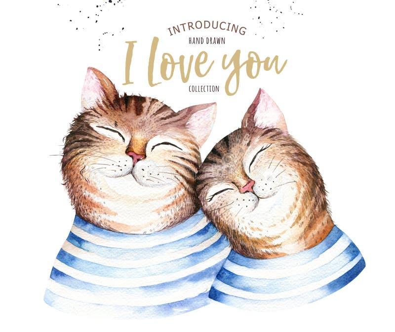 水彩逗人喜爱的被隔绝的猫ilustration 爱动画片华伦泰` s卡片的猫字符 Nursary艺术设计 库存例证