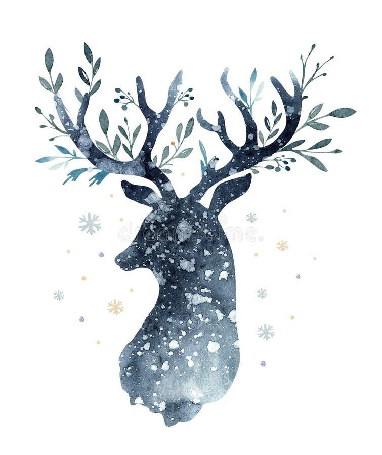 水彩逗人喜爱的鹿特写镜头画象  背景查出的白色 手拉的圣诞节例证 2007个看板卡招呼的新年好 库存例证