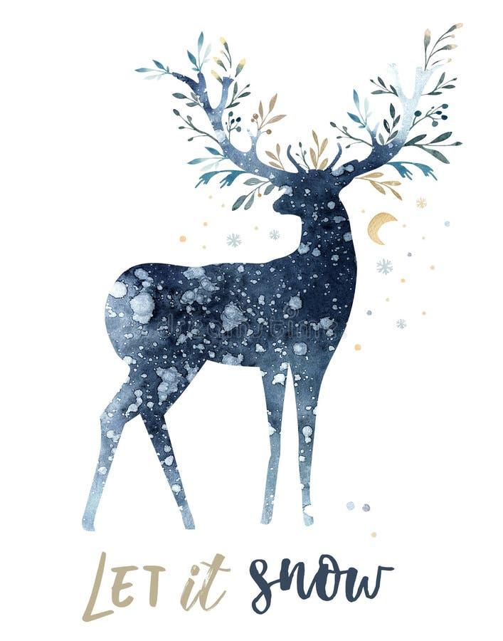 水彩逗人喜爱的鹿特写镜头画象  背景查出的白色 手拉的圣诞节例证 2007个看板卡招呼的新年好 皇族释放例证
