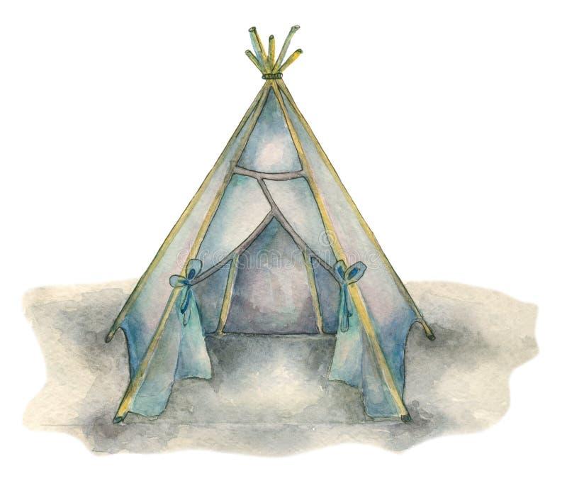 水彩部族圆锥形帐蓬 皇族释放例证