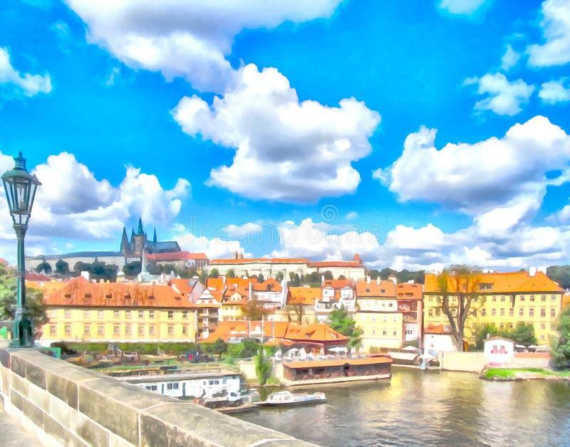水彩都市风景 布拉格,捷克共和国 皇族释放例证