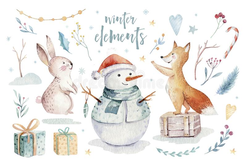 水彩金子与雪人,圣诞树,假日逗人喜爱的动物的圣诞快乐例证欺骗,兔子和 向量例证