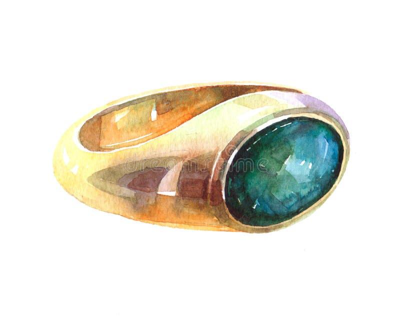 水彩金戒指两点例证隔绝了 皇族释放例证