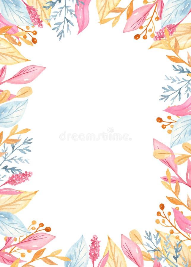 水彩金黄回合,与花的长方形框架 浪漫独角兽收藏 库存例证