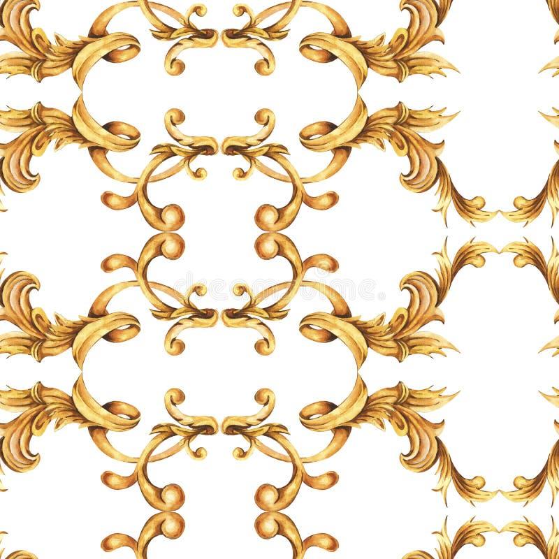 水彩金黄巴洛克式的无缝的样式,洛可可式的装饰品纹理 手拉的金纸卷,叶子 库存例证