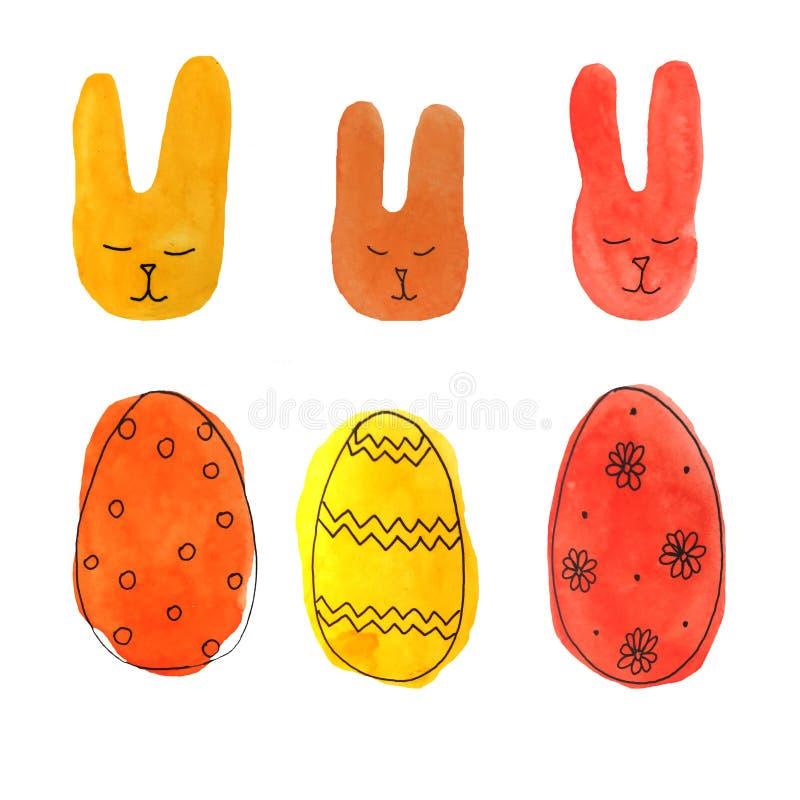 水彩集合复活节兔子和鸡蛋 皇族释放例证
